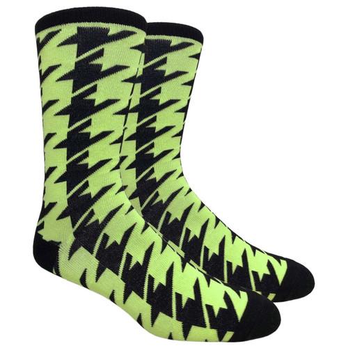 Finefit Houndstooth Dress Sock - Neon Yellow (1 Dozen)