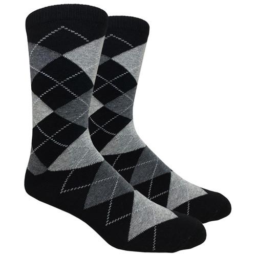 FineFit Black - Black Argyle Dress Socks / BIG & TALL 13-15 (AD003) - 1 Dozen
