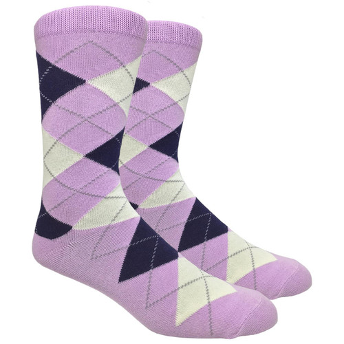 FineFit Black - Lilac Argyle Dress Socks / BIG & TALL 13-15 (AD004) - 1 Dozen