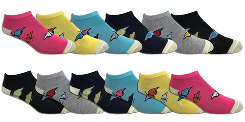 Fun Socks Spandex - Butterflies // 1 CASE (30 DZ) - $2.55/DZ