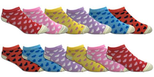 Fun Socks Spandex - Hearts // 1 CASE (30 DZ) - $2.55/DZ