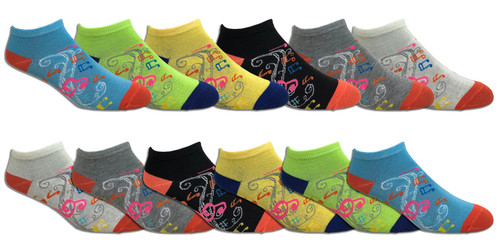 Fun Socks Spandex - Musical Notes // 1 CASE (30 DZ) - $2.55/DZ