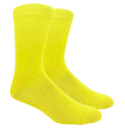 FineFit Black - Plain Dress Socks - Yellow - 1 Dozen