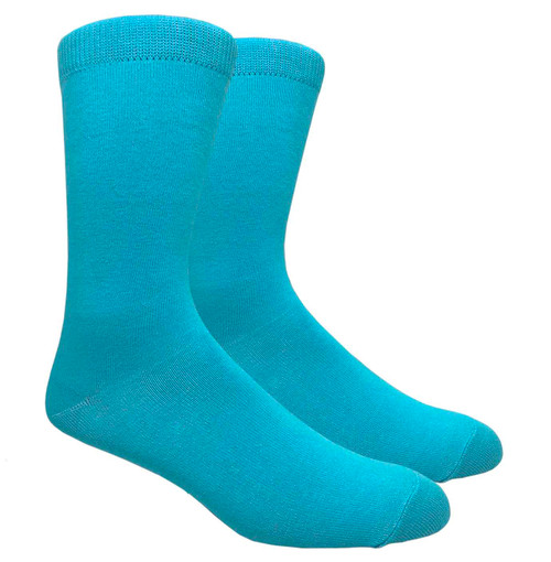 FineFit Black - Plain Dress Socks - Turquoise - 1 Dozen