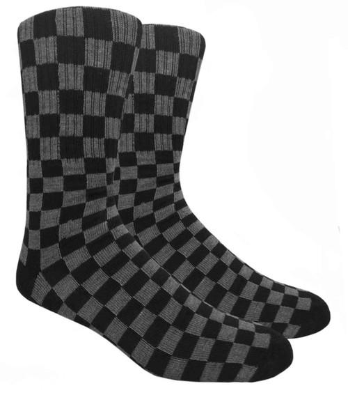Mad Toro Black & Grey Checkered Socks  - (TR037G) - 1 Dozen