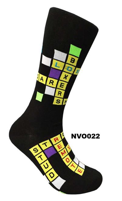 Novelty Overrun Dress Socks - Crossword (NVO022)