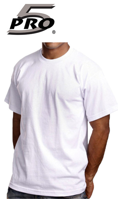 Pro 5 White T-Shirt / (1 Qty = Half Dozen, 6 pieces)