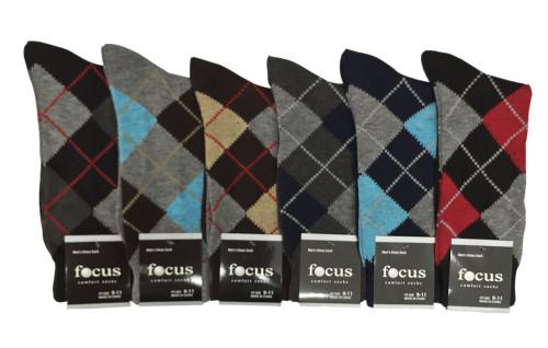 Focus Men's Dress Socks - Argyle (Size: 9-11, 10-13) - 1 Dozen