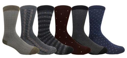 Focus Men's Dress Socks - Design Pattern (Size: 9-11, 10-13) - 1 Dozen