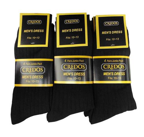 Credos Men's Dress Socks - Black (Size: 9-11, 10-13) - 1 Dozen