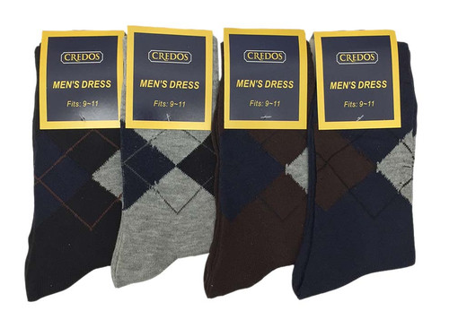 Credos Men's Dress Socks - Argyle Assorted (Size: 9-11, 10-13) - 1 Dozen
