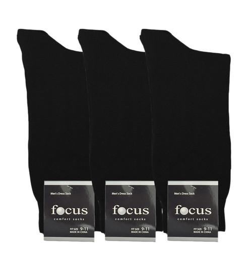 Focus Men's Dress Socks - Black (Size: 9-11, 10-13) - 1 Dozen