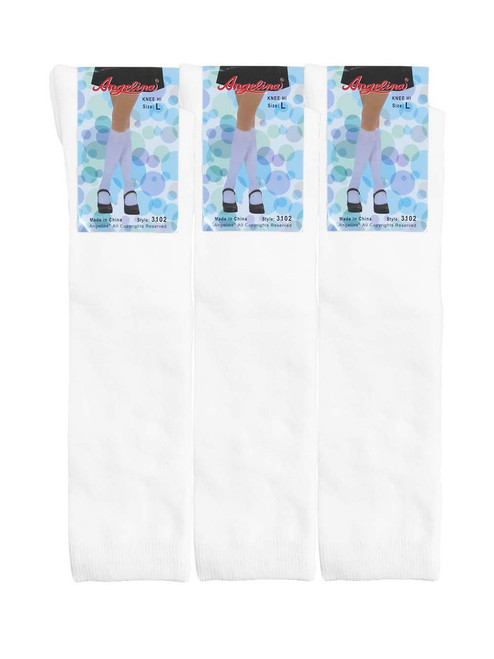 Angelina Knee High Socks - White (Size: S-XL) - 1 Dozen