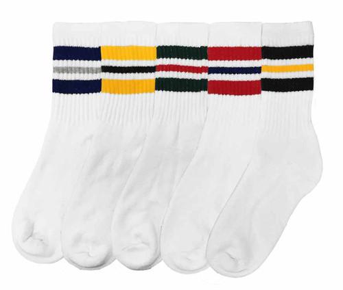 Socks Plus Crew Socks - White/Stripe Assorted (Size: 9-11) - 1 Dozen
