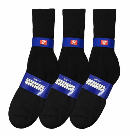 Socks Plus Crew Socks - Black (Size: 9-11) - 1 Dozen
