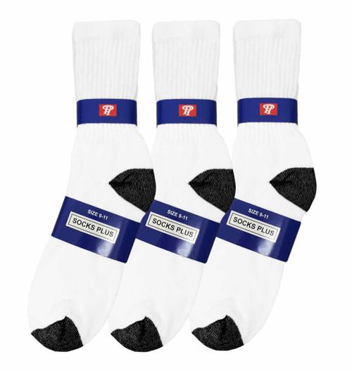 Socks Plus Crew Socks - White/Black H&T (Size: 9-11) - 1 Dozen