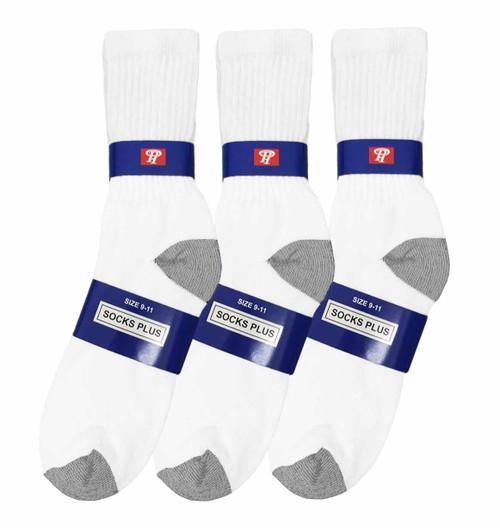 Socks Plus Crew Socks - White/Grey H&T (Size: 9-11) - 1 Dozen