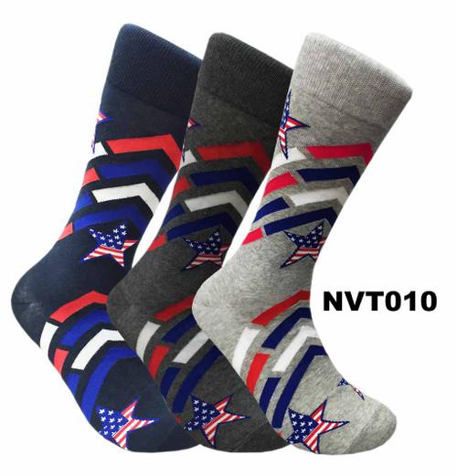 FineFit Novelty Socks 3 Pair Bundle -  Star Spangled (NVT010) - 1 Dozen