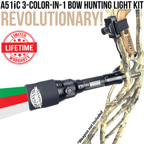 WICKED LIGHTS® A51IC 3-COLOR-N-1 (RED, GREEN, WHITE) BOW NIGHT HUNTING KIT FOR PREDATOR AND HOG