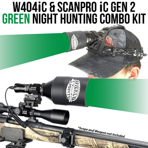 WICKED LIGHTS® W404IC & SCANPRO® IC GEN2 HEADLAMP GREEN LED NIGHT HUNTING LIGHT KIT FOR COYOTE, HOG, PREDATOR