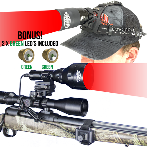 WICKED LIGHTS W403IC & SCANPRO IC GEN 1.5 RED & GREEN LED NIGHT HUNTING LIGHT AND HEADLAMP COMBO KIT FOR COYOTE, FOXES, VARMINTS, HOGS, AND PREDATORS