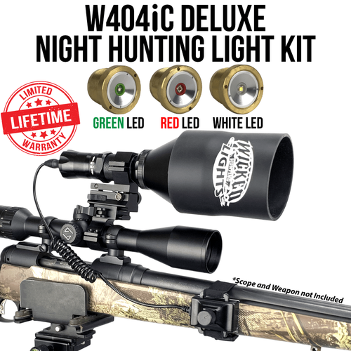 WICKED LIGHTS® W404IC DELUXE WITH RED, GREEN, AND WHITE LED NIGHT HUNTING KIT FOR COYOTE, HOG, PREDATOR