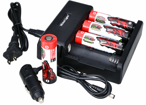 WICKED LIGHTS® 4-POSITION LI-ION CHARGER AND 4 PACK LITHIUM ION INR 21700 5000MAH RECHARGEABLE BATTERIES