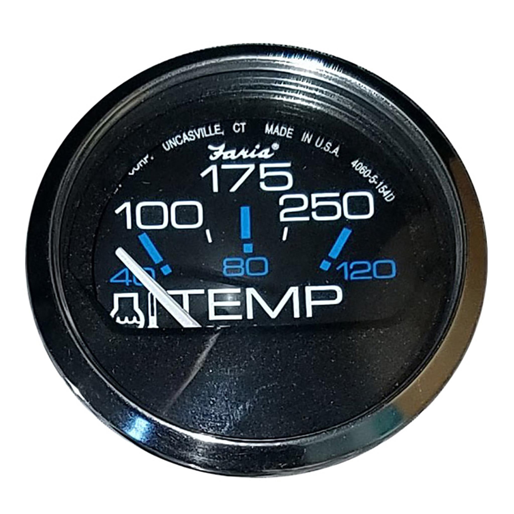 "12812 Faria Euro Black 2/"" Water Temperature Gauge 100-250 DegreeF"