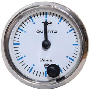 "Faria 2"" Clock Chesapeake White w\/Stainless Steel Bezel - Quartz Analog [13891]"