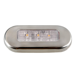 Aqua Signal Cordoba LED Oblong Oval Courtesy Light - 12V - Warm White w\/Stainless Steel Housing [16430-7]