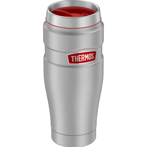 Thermos 16oz Stainless Steel Travel Tumbler - Matte Steel w\/Red Badge - 7 Hours Hot\/18 Hours Cold [SK1005MSR4]