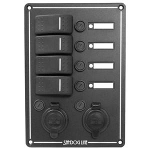 Sea-Dog Switch Panel 4 Circuit w\/Dual Power Socket  Illuminated Switches [425146-1]