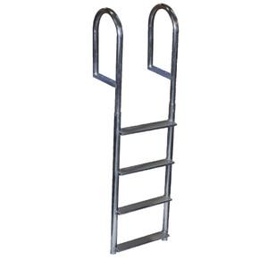 Dock Edge Welded Aluminum Fixed Wide Step Ladder - 4-Step [DE2044F]