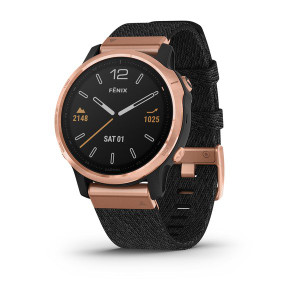 fenix 6S Sapphire, Rose Gold-tone with Heathered Black Nylon Band, North