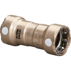 """Viega MegaPress 1"""" Copper Nickel Coupling w\/Stop Double Press Connection - Smart Connect Technology [88390]"""