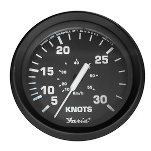 "Faria Euro Black 4"" 30 Knot Speedometer f\/Mechanical Pitot Tube [32809]"