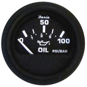 """Faria 2"""" Heavy Duty Oil Pressure Gauge - 100 PSI - Black Dial  SS Bezel [24004]"""