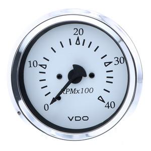 """VDO Cockpit Marine 85MM (3-3\/8"""") Diesel Tachometer - 4000 RPM - White Dial\/Chrome Bezel [333-15273]"""