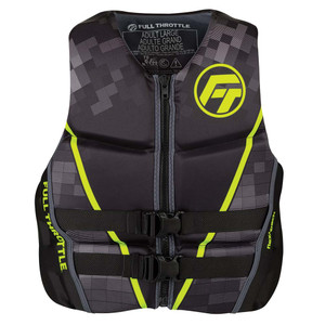 Full Throttle Mens Rapid-Dry Flex-Back Life Jacket - M - Black\/Green [142500-400-030-22]