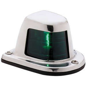 Attwood 1-Mile Deck Mount, Green Sidelight - 12V - Stainless Steel Housing [66319G7]