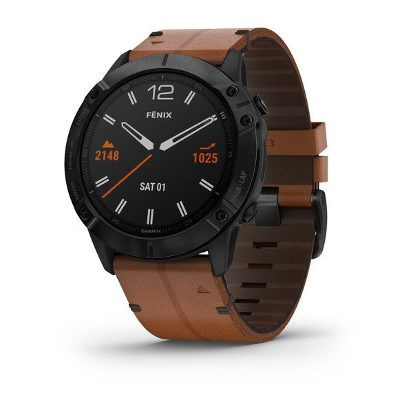 Fenix®6X Sapphire, Black DLC with Chestnut Leather Band