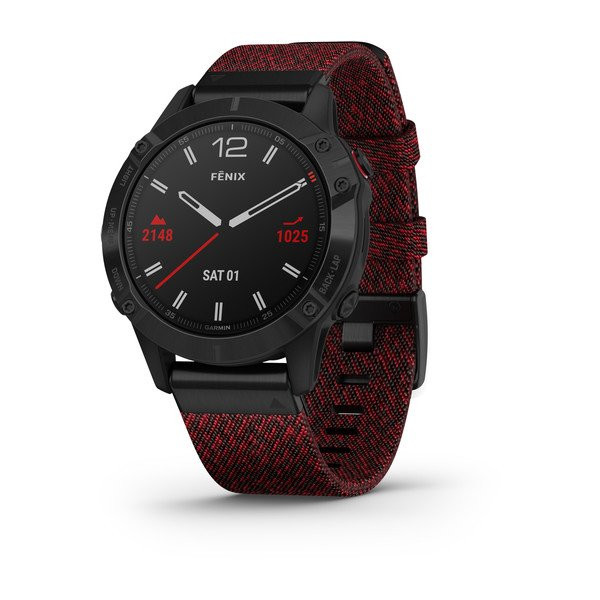 fenix 6 Sapphire, Black DLC with Heathered Red Nylon Band
