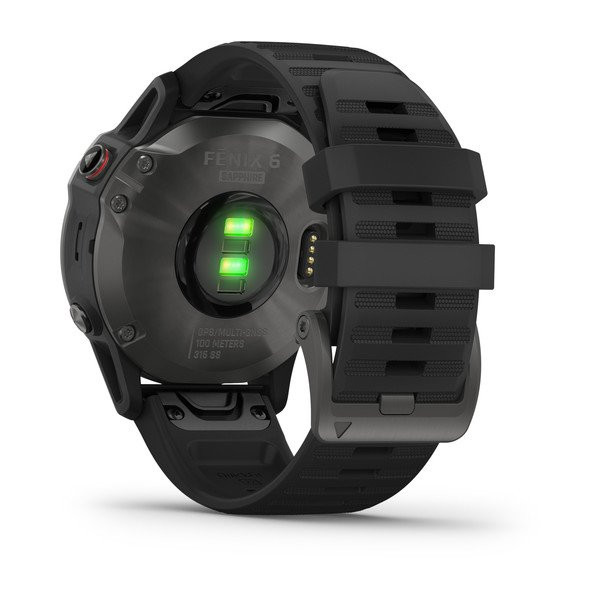 fenix 6 Sapphire, Carbon Gray DLC with Black Band