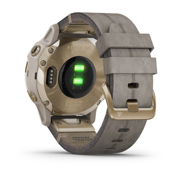 fenix 6S Sapphire, Light Gold-tone with Shale Gray Leather Band