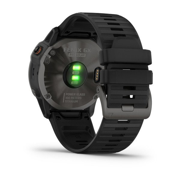 fenix 6X Pro Solar, Titanium Carbon Gray DLC with Black Band