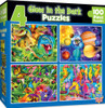 4-pack Glow in the Dark Multipack 100 Piece Puzzles