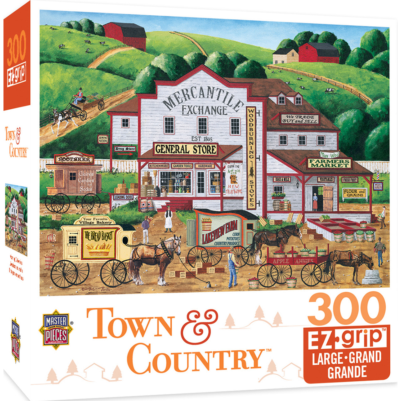 Painters Point 300-Piece EZ Grip Jigsaw Puzzle MasterPieces Town /& Country