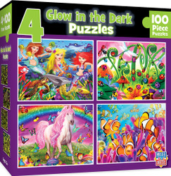 4-Pack - Glow in the Dark 100 Piece Jigsaw Puzzle