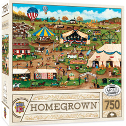 Homegrown Country Fair - 750 Piece Linen Jigsaw Puzzle by Cindy Mangutz