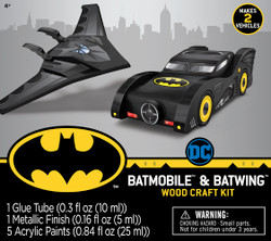 Mini Batmobile & Batwing Buildable 2-Pack Licensed Wood Paint Kit